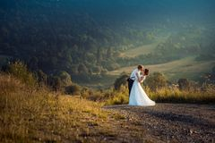 Outdoor wedding portrait of the adorable cheerful young newlywed couple softly hugging on the road in the countryside. During the sunset stock images