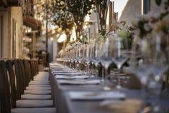 Outdoor wedding reception. In landscape stock image