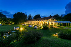 Outdoor wedding reception night Royalty Free Stock Images