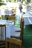 Outdoor wedding reception table Stock Photos
