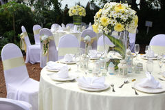 Outdoor wedding setting Royalty Free Stock Photos