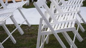 Outdoor wedding setting in Washington viewing altar and dinner tables.  Royalty Free Stock Images