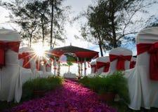 Outdoor wedding setup. An romantic idea for an outdoor wedding setup royalty free stock photography