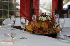 Outdoor Wedding Table Fall Centerpiece stock photography