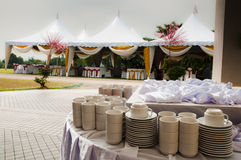Outdoor Wedding Tent. View of wedding tent and cups and bowls Royalty Free Stock Photography