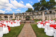 Outdoor wedding venue in Santa Clara convent ruins, Antigua Guatemala Stock Photo