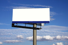 Outdoor white advertising billboard. Outdoor blank advertising billboard and sky with cloud Stock Image