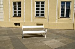 Outdoor white wooden bench Royalty Free Stock Photos