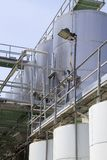 Outdoor winery stainless steel tanks Stock Photo