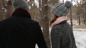 Outdoor winter forest shot of young wedding couple walking and having fun holding hands in snow weather pine forest stock video footage