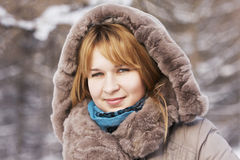 Outdoor winter portrait of blonde Stock Photography
