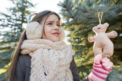 Free Outdoor Winter Portrait Of Smiling Girl Near Christmas Tree Stock Images - 158814204