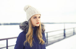 Outdoor winter portrait of stylish hipster girl Stock Photography