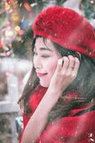 Outdoor winter portrait of woman in red Royalty Free Stock Photo