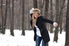 Outdoor Winter Portrait of Woman in Snowball Fight Stock Photos