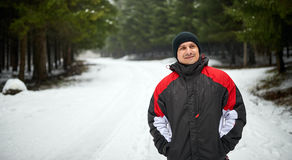 Outdoor winter portrait of a young man Royalty Free Stock Photography