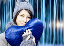 Outdoor winter portrait of young pretty girl Royalty Free Stock Images