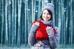 Outdoor winter portrait of young pretty girl Stock Image