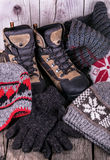 Outdoor winter shoes wool sweaters Royalty Free Stock Image