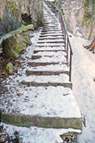 Outdoor winter steps in natural setting Royalty Free Stock Images