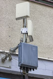 Outdoor wireless directional antennas on pole Royalty Free Stock Image