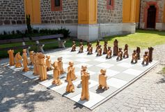 Outdoor woden chess Stock Photo
