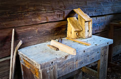 Outdoor Wood Workshop Stock Image