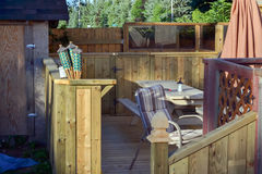 Outdoor Wooden Backyard Deck. Newly built outdoor wooden backyard deck Stock Photography