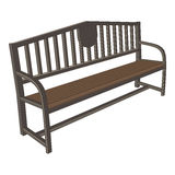 Outdoor wooden bench 3d view. Exterior Features. Outdoor wooden bench 3d view illustration object. Exterior Features Royalty Free Stock Images