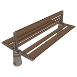 Outdoor wooden bench 3d view. Exterior Features Stock Photo