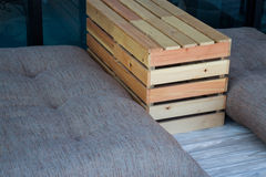 Outdoor wooden box table and seat Stock Photography