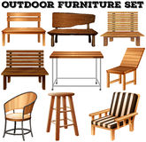 Outdoor wooden furniture set Stock Image