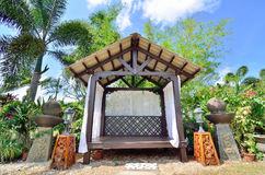 Outdoor wooden gazebo stock image