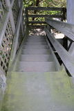 Outdoor Wooden Stairs. Closeup image of outdoor wooden staircase leading down Royalty Free Stock Image