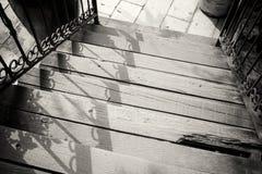 Outdoor wooden stairway Stock Images