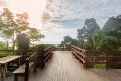 Outdoor wooden terrace Royalty Free Stock Images