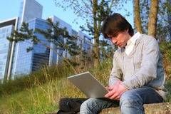 Outdoor working. Royalty Free Stock Photography