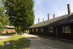 Outdoor yard in Auschwitz I camp Royalty Free Stock Photo