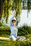 Outdoor yoga Stock Photo