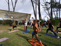 Outdoor Yoga class, led by Kara Miller, does warrior z Royalty Free Stock Photos