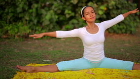 Outdoor yoga meditation exercise in nature stock footage