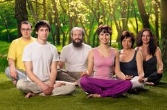 Outdoor Yoga People Meditation Stock Images
