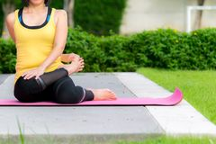 Outdoor yoga practice royalty free stock photo