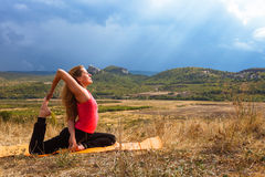Outdoor yoga practice in mountain Stock Images
