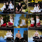 Outdoor yoga session in beautiful place - set stock photos