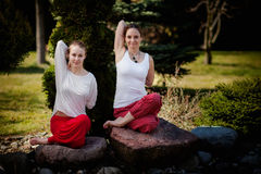 Outdoor yoga session in beautiful place - women exercise Royalty Free Stock Photos