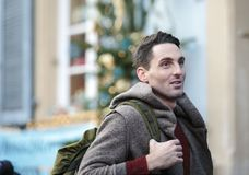 Outdoor Young man Winter Portrait walking in the city royalty free stock image