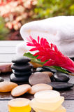 Outdoor zen wellness  with soaps and ginger flower Stock Photo