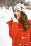 outdoors женщина телефона Стоковая Фотография RF