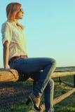 outdoors сь женщина Стоковое Изображение
